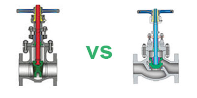 What is the difference between a gate and a globe valve?